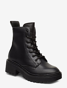 Leather Boot - platta ankelboots - black