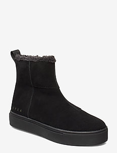 Suede / Pile Boots - BLACK