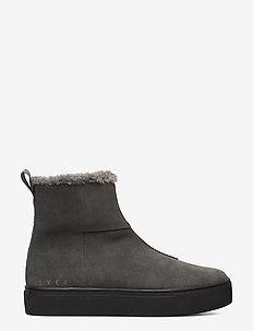 Suede / Pile Boots - flat ankle boots - grey