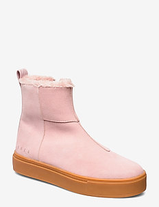 Suede / Pile Boots - flat ankle boots - soft pink