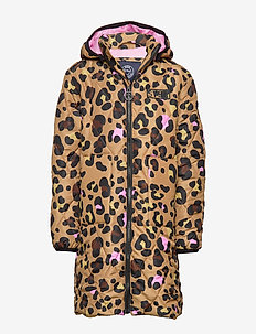 K. Quilted Hood Coat - puffer & padded - multi leo