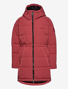 W. Hourglass Puffer Jacket - padded coats - sienna red