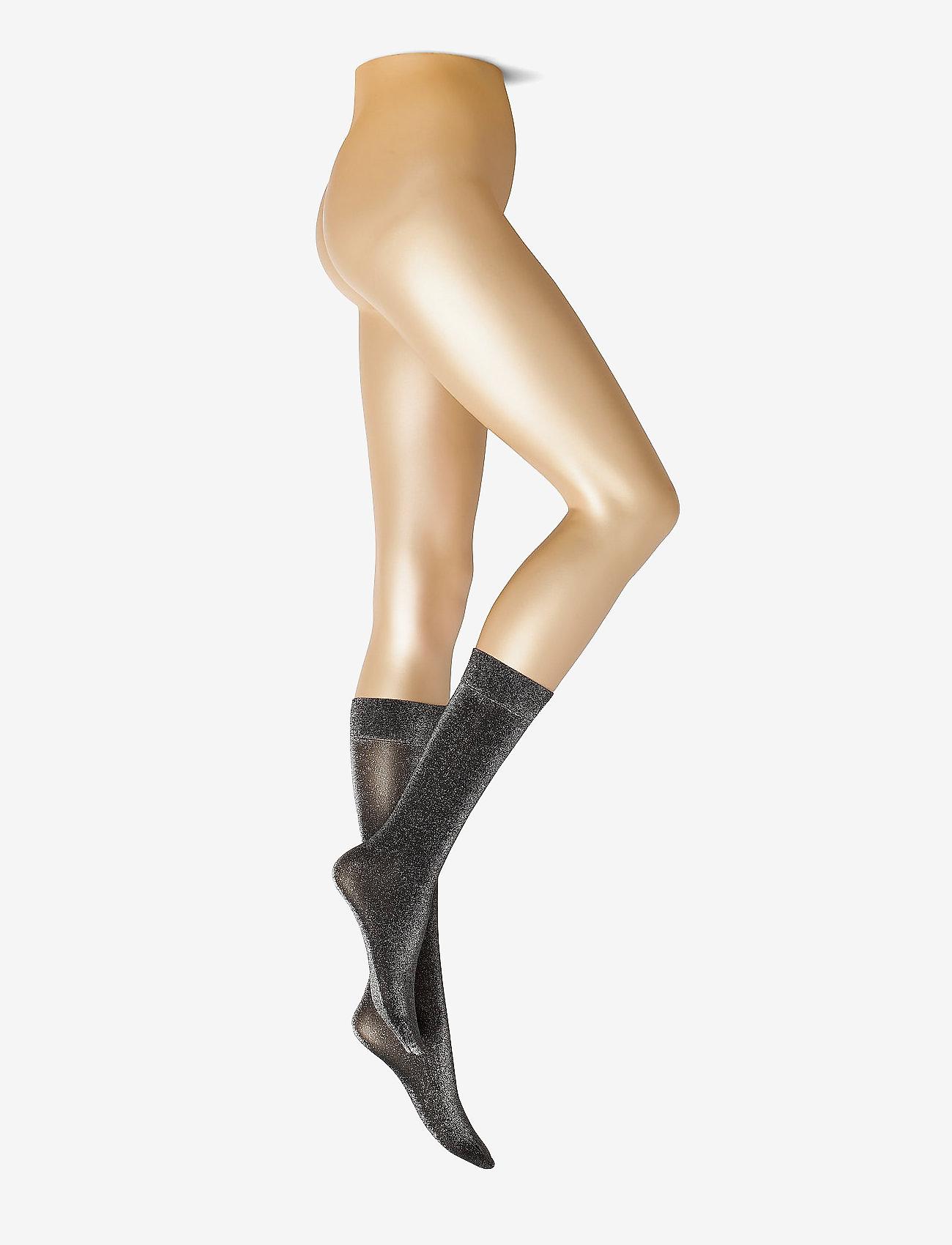 Swedish Stockings - INES SHIMMERY SOCK WINE - kniekousen - black - 0