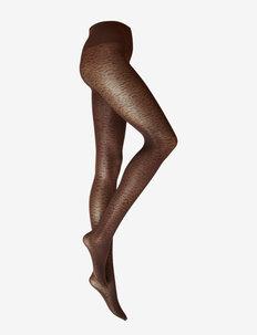 Emma Leopard Tights - BROWN