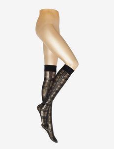 Greta tartan knee-high - strümpfe - black