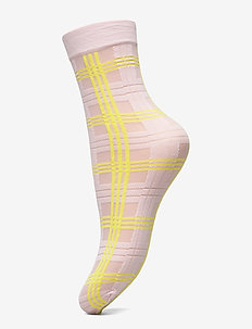 Greta Tartan Socks  20 den - socken - light pink/neon yellow
