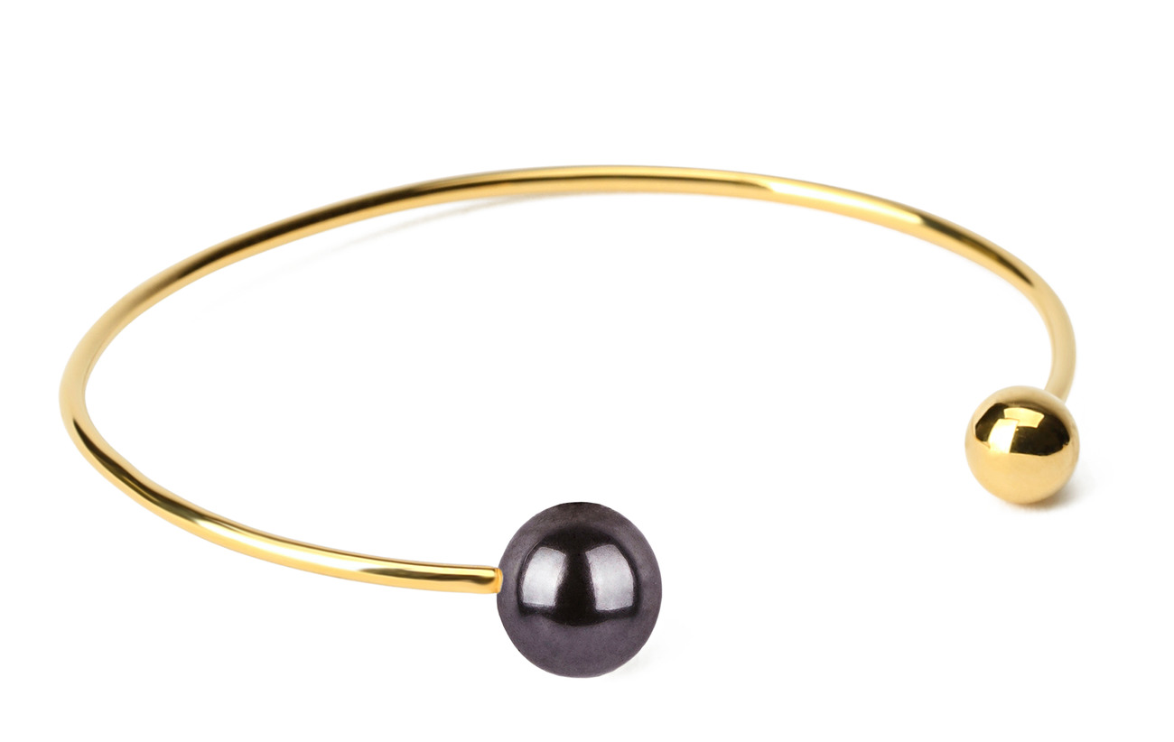 Syster P Pearly Double Pearl Bangle Black - GOLD