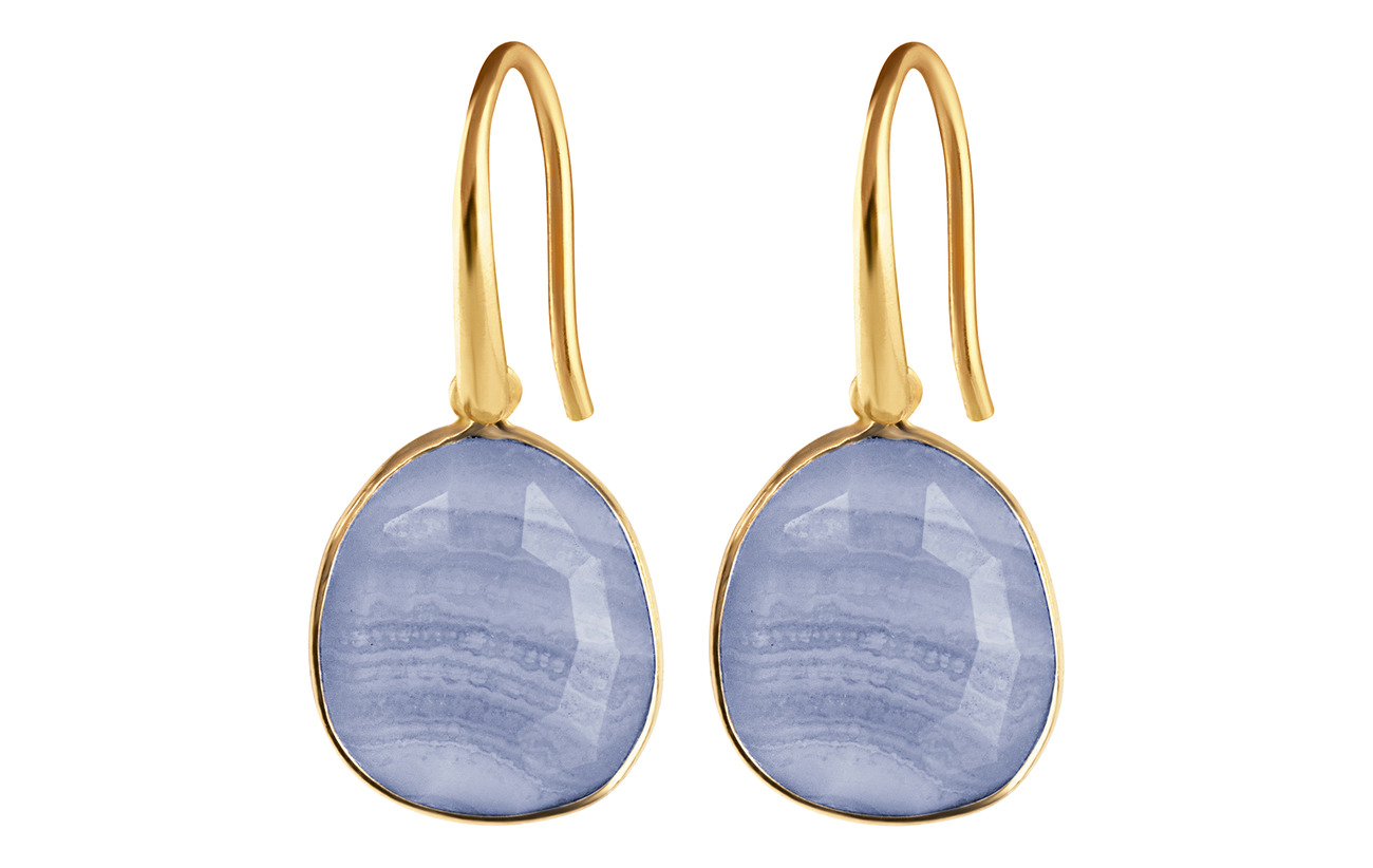 Syster P GLAM GLAM EARRINGS GOLD, BLUE LACE AGATE - GOLD