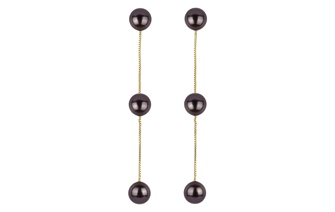 Syster P Pearly Triple Pearl Earrings Gold Black - GOLD