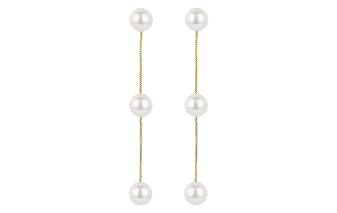 Triple WhitegoldSyster Earrings Gold P Pearly Pearl TJcK1lF