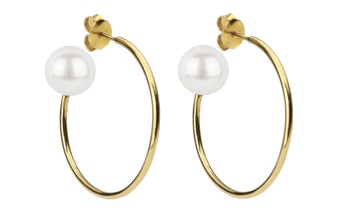Syster P Pearly Big Hoops Gold White - GOLD