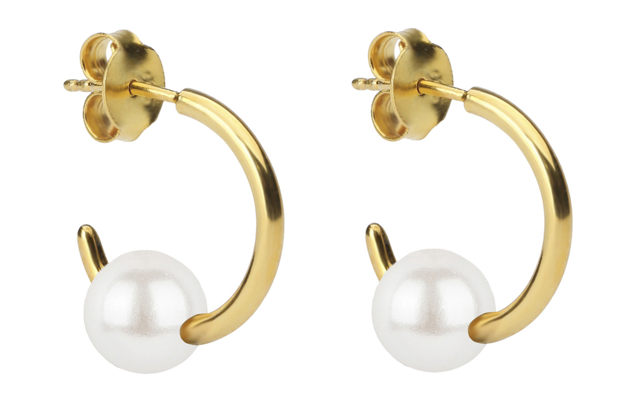 Syster P Pearly Small Hoops Gold White - GOLD