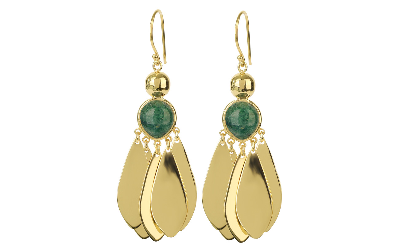 Syster P Flakes Big Earrings Gold Green Aventurine - GREEN AVENTURINE
