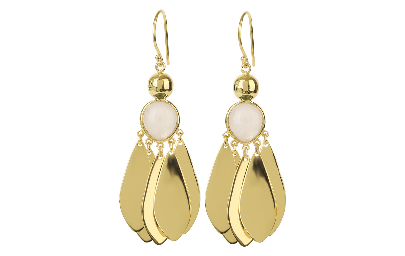 Syster P Flakes Big Earrings Gold Moonstone - MOONSTONE