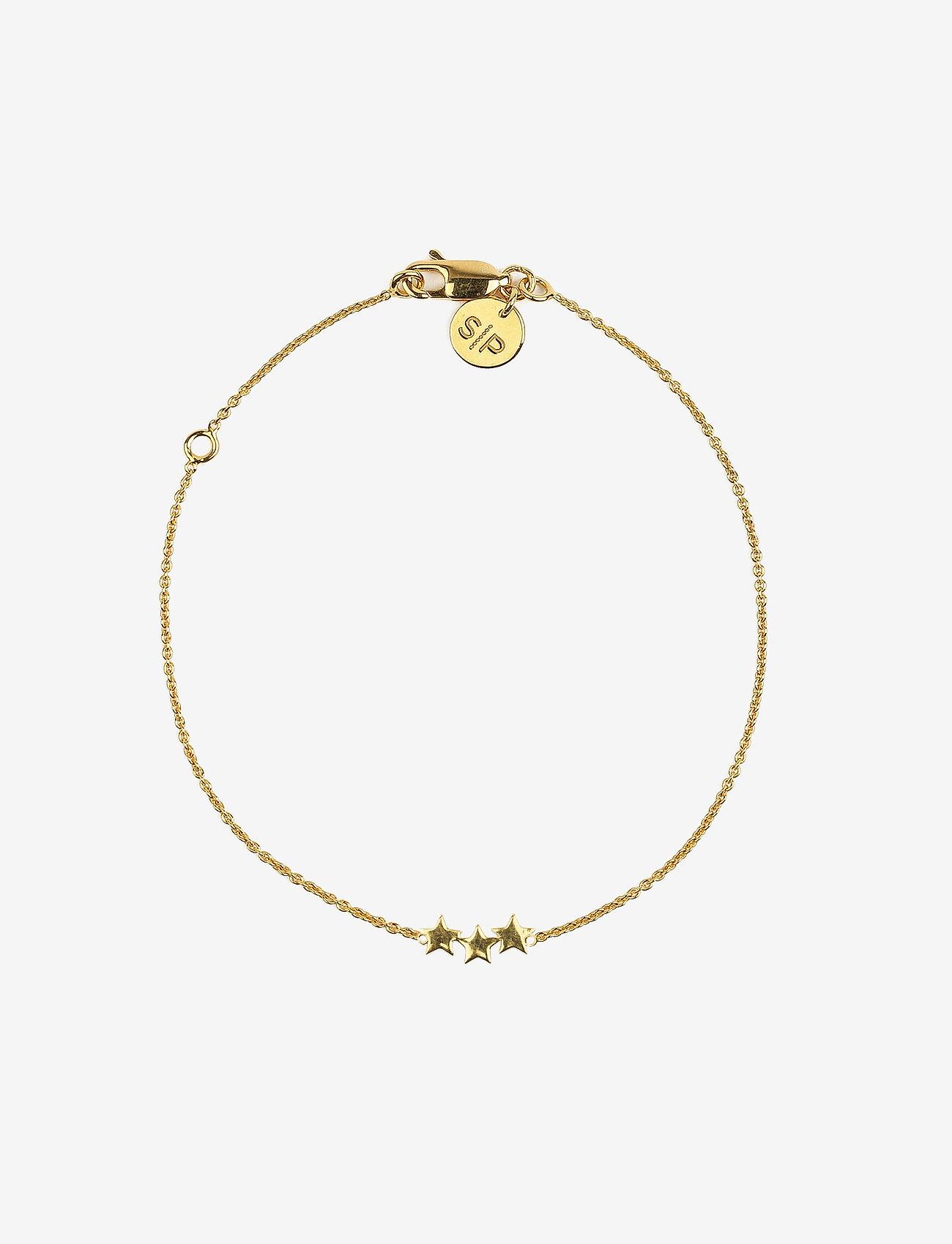 Syster P - Snap Bracelet Triple Star Plain Gold - dainty - gold - 0