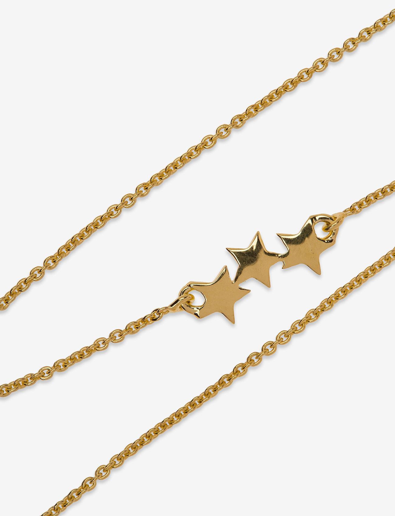 Syster P - Snap Bracelet Triple Star Plain Gold - dainty - gold - 1