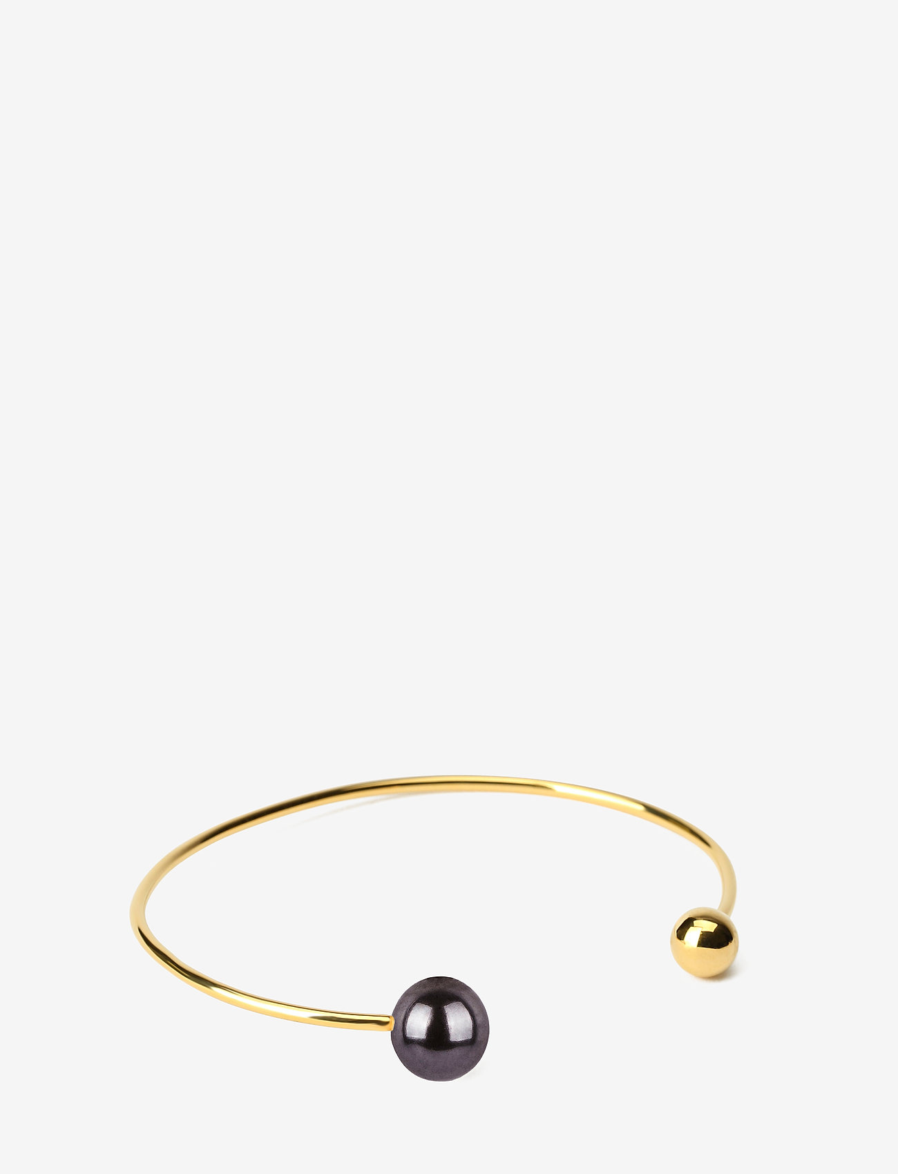 Syster P - Pearly Double Pearl Bangle Black - bangles - gold - 0
