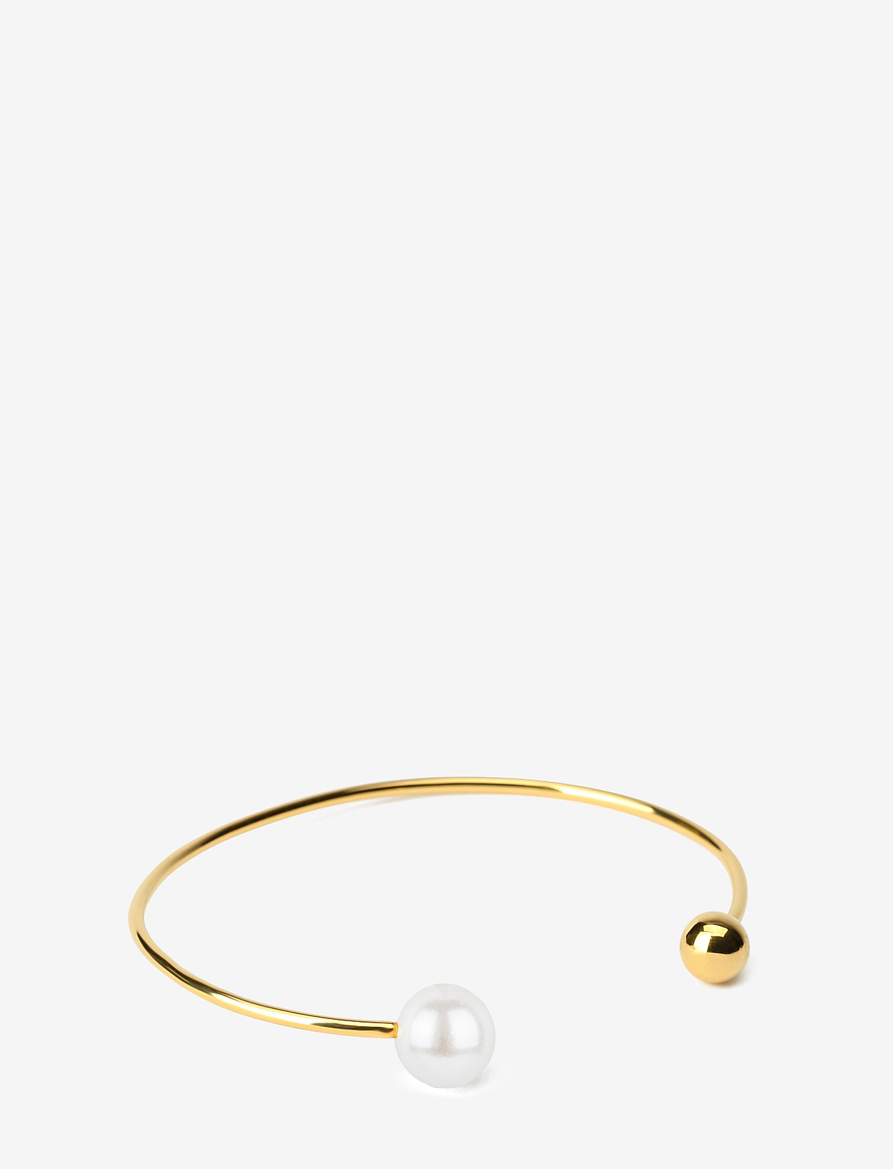 Syster P - Pearly Double Pearl Bangle White - bangles - gold - 0