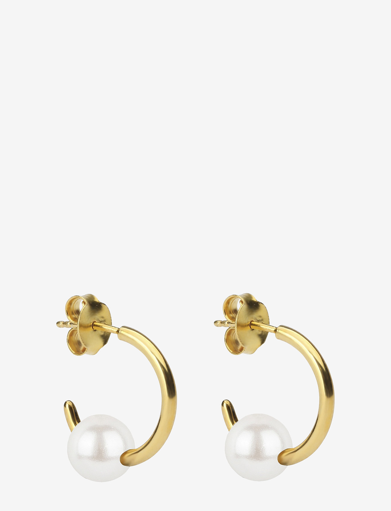 Syster P - Pearly Small Hoops Gold White - hopen - gold - 0