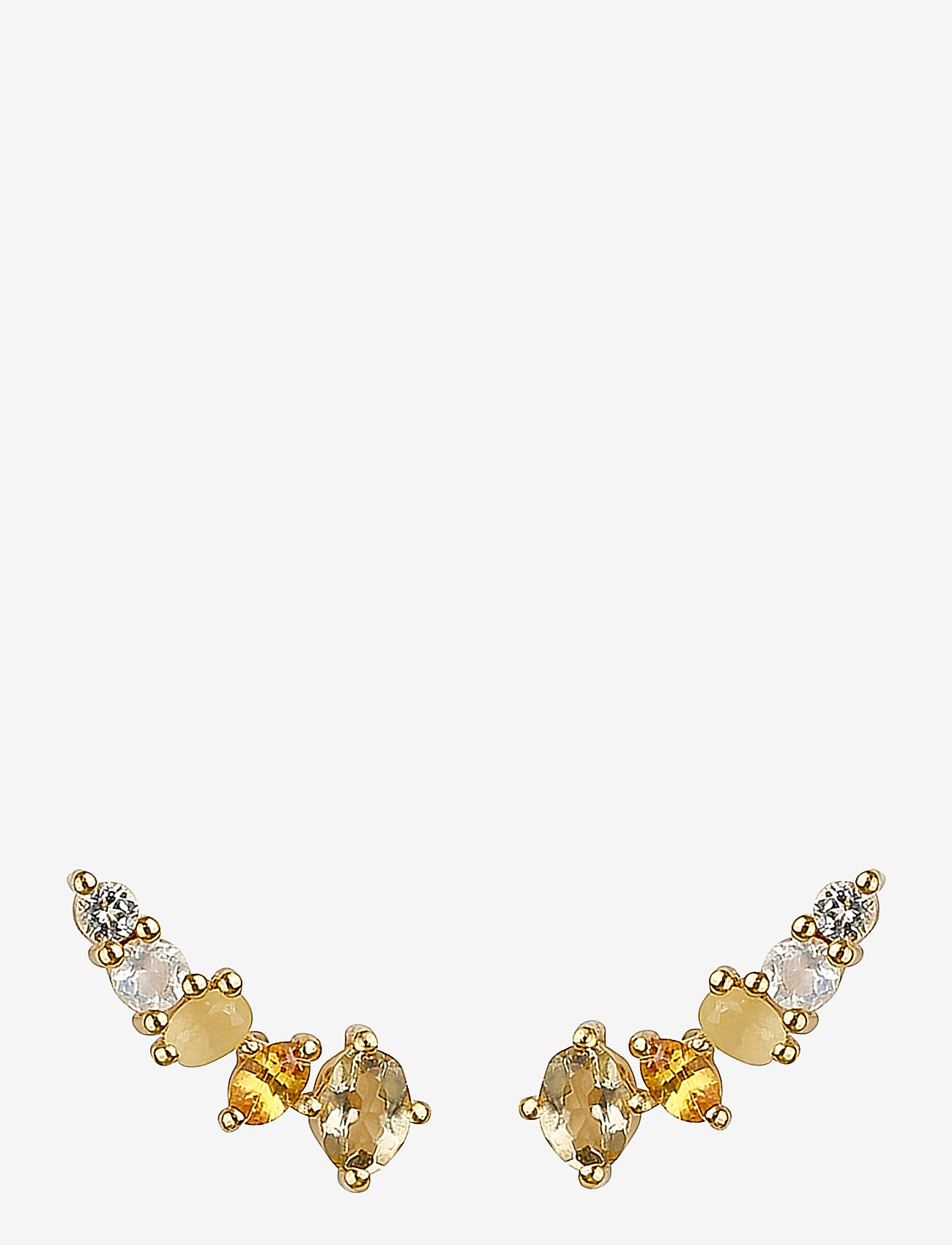 Syster P - Dazzle Earrings Gold Champagne Quartz - stud oorbellen - gold - 0