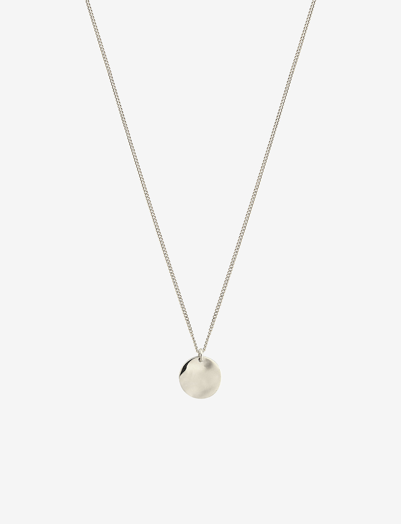 Syster P - MINIMALISTICA HAMMERED CIRCLE NECKLACE SILVER - kettingen met hanger - silver - 0