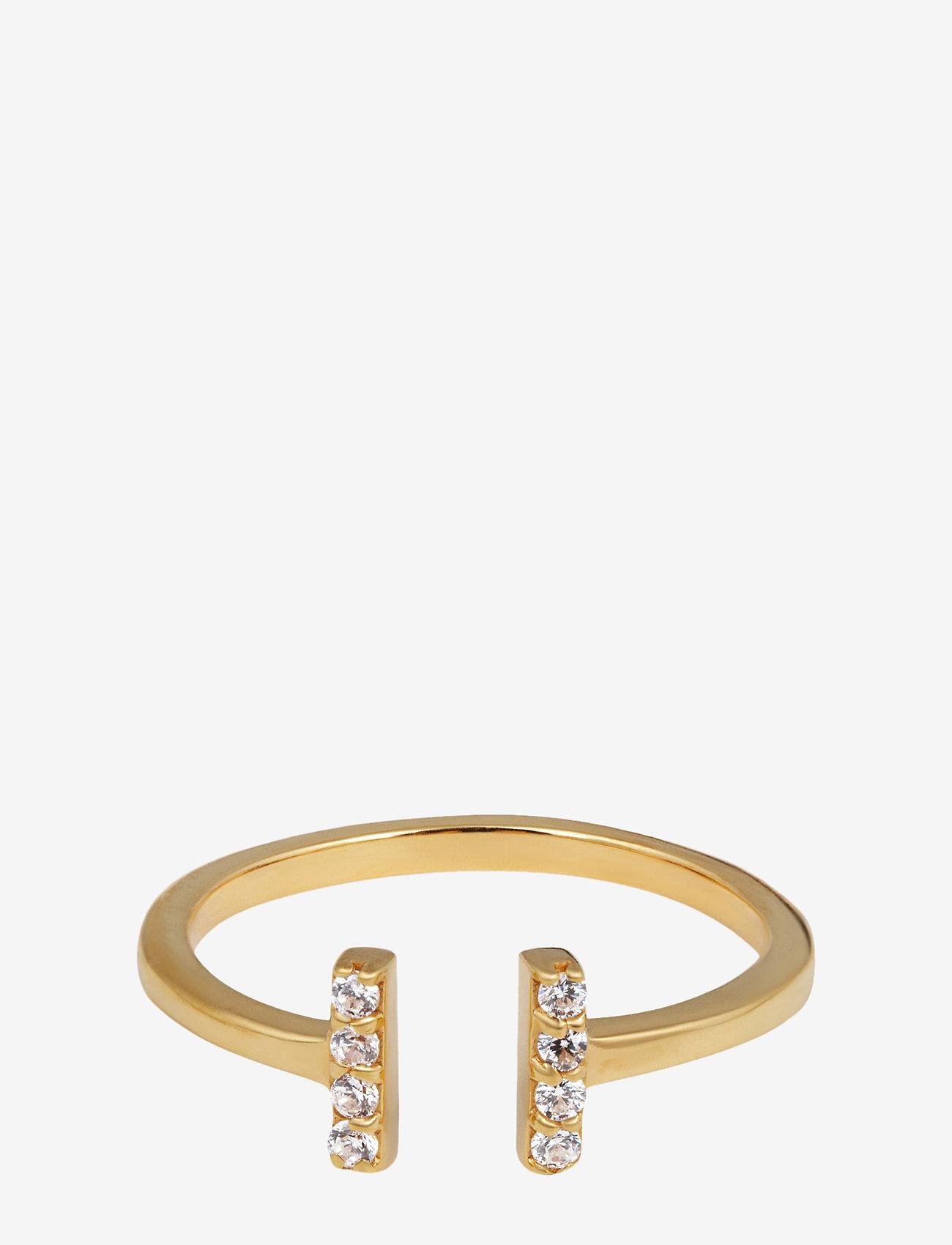 Syster P - STRICT SPARKLE BAR RING GOLD - ringen - gold - 0