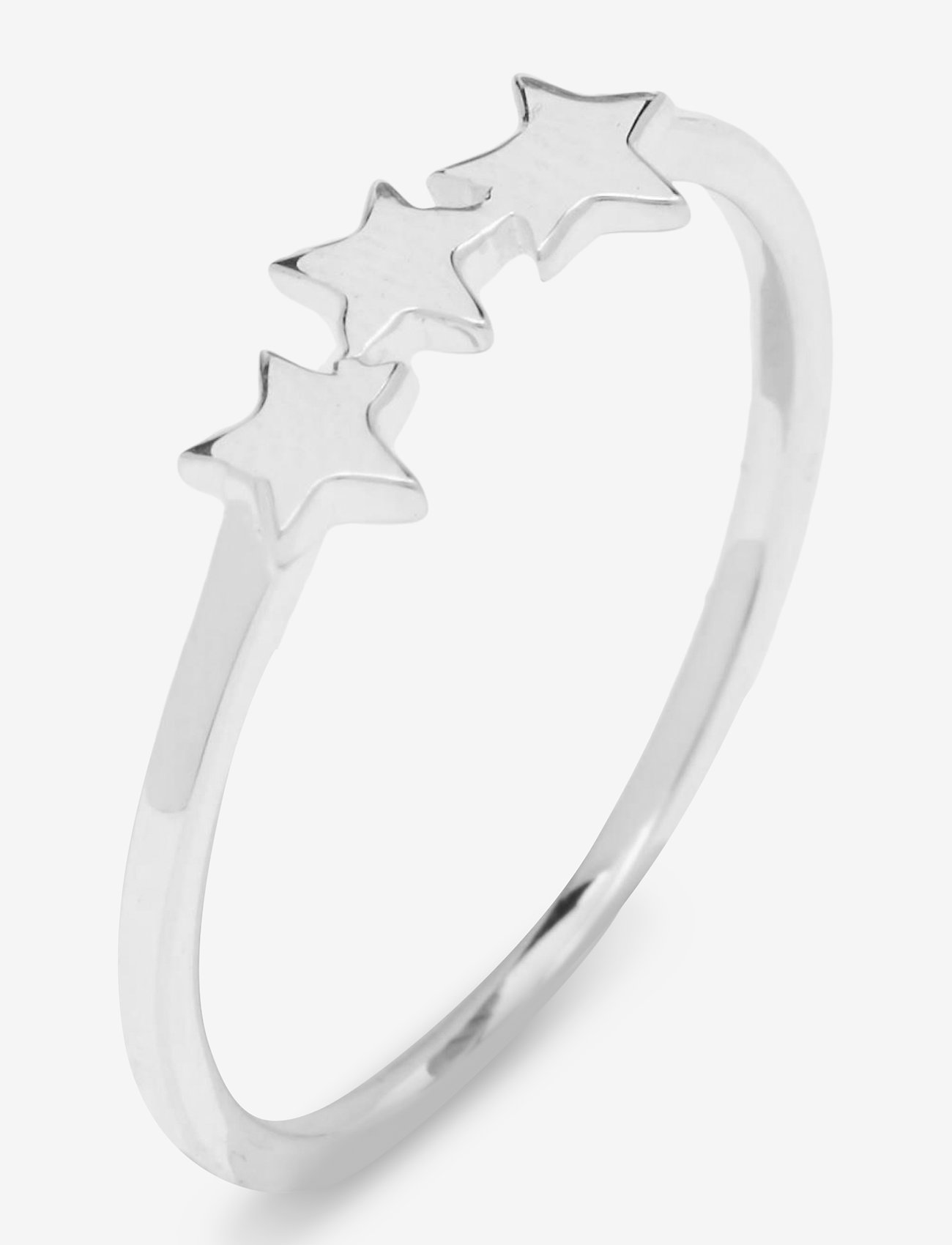 Syster P - Snap Ring Plain Triple Star Silver - ringen - silver - 0