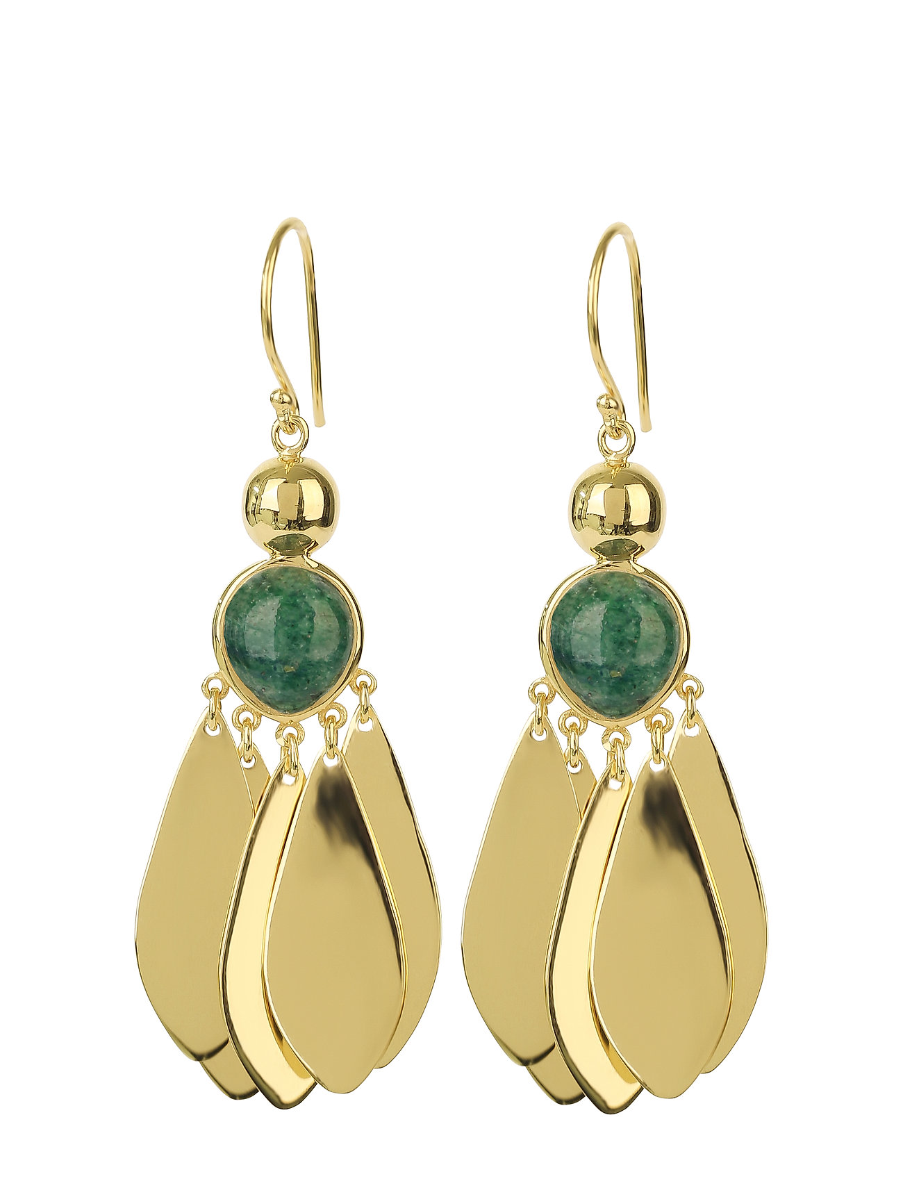 Syster P Flakes Big Earrings Gold Green Aventurine