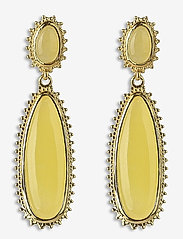 Syster P - Mejja Stone Drop Earrings Gold - oorhangers - yellow yade - 0