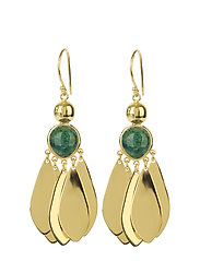 Flakes Big Earrings Gold Green Aventurine - GREEN AVENTURINE