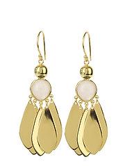 Flakes Big Earrings Gold Moonstone - MOONSTONE