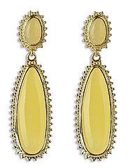 Mejja Stone Drop Earrings Gold - YELLOW YADE