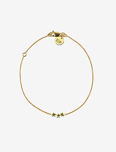 Snap Bracelet Triple Star Plain Gold - dainty - gold