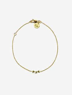 Snap Bracelet Triple Star Plain Gold - dainty - gold
