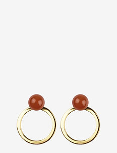 PLANET EARRINGS GOLD RED ONYX - GOLD