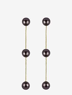 Pearly Triple Pearl Earrings Gold Black - GOLD