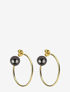 Pearly Big Hoops Gold Black - GOLD