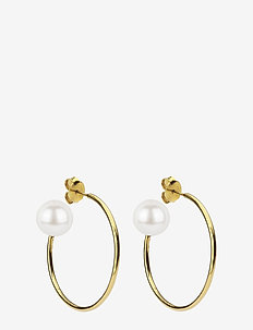 Pearly Big Hoops Gold White - GOLD