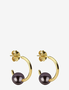 Pearly Small Hoops Gold Black - GOLD