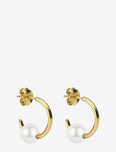 Pearly Small Hoops Gold White - GOLD