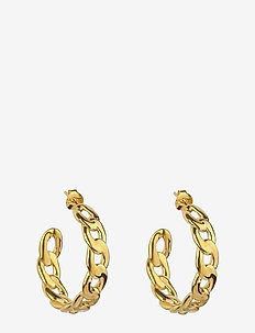 Links Curb Chain Hoops Gold - GOLD