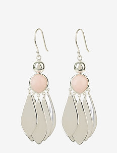 Flakes Big Earrings Silver Pink Opal - PINK OPAL