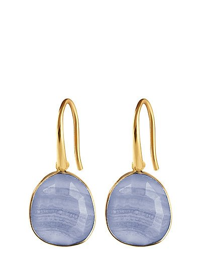 GLAM GLAM EARRINGS GOLD, BLUE LACE AGATE - GOLD