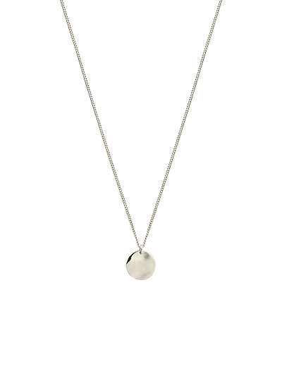 MINIMALISTICA HAMMERED CIRCLE NECKLACE SILVER - SILVER