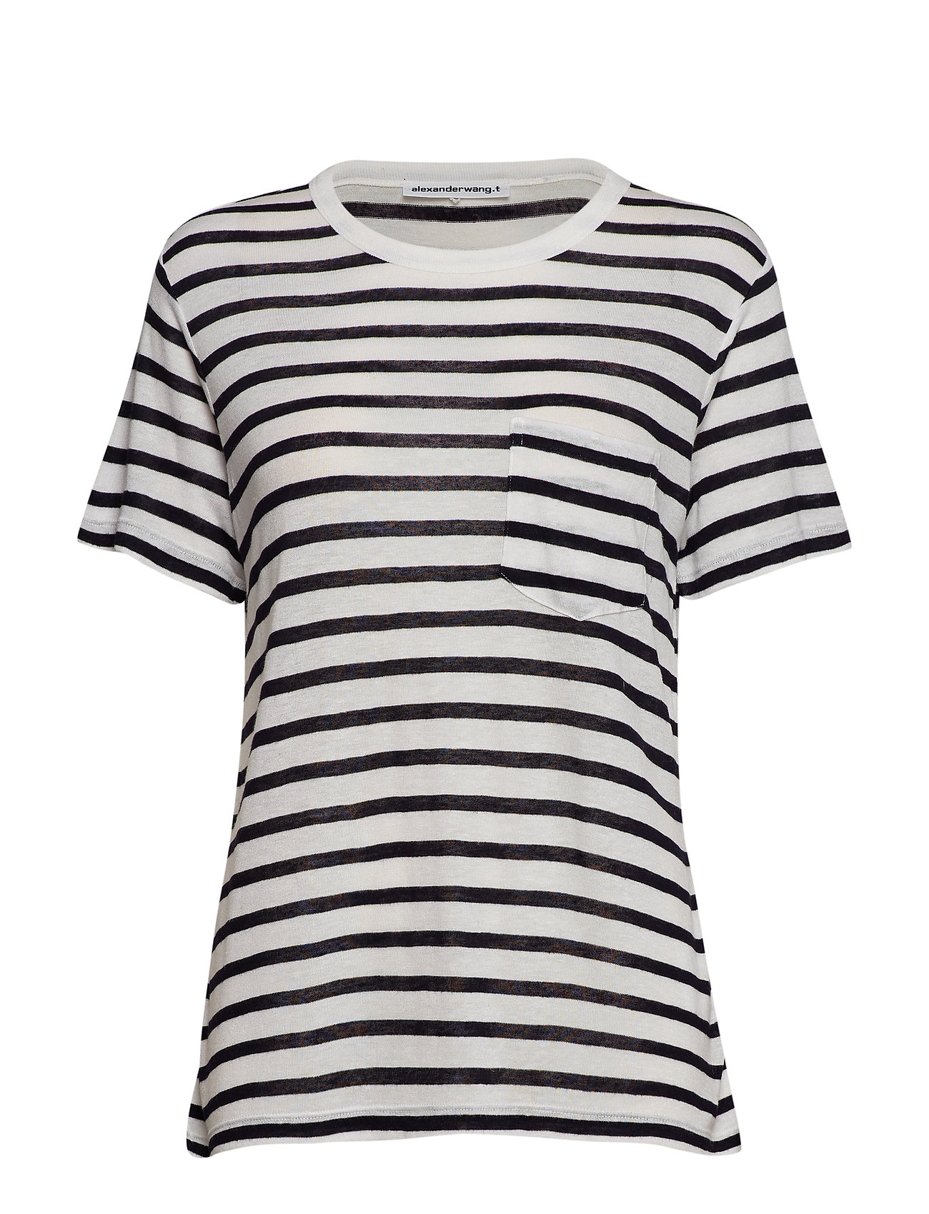 T by Alexander Wang CLASSIC STRIPED SLUB JERSEY S/S TEE W/ POCKET - INK AND IVORY
