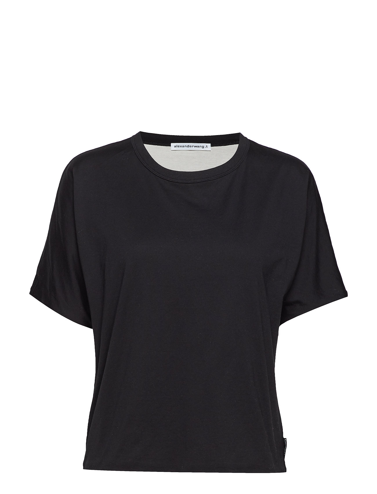 T by Alexander Wang SUPERFINE JERSEY S/S CREWNECK TOP - BLACK/PEARL