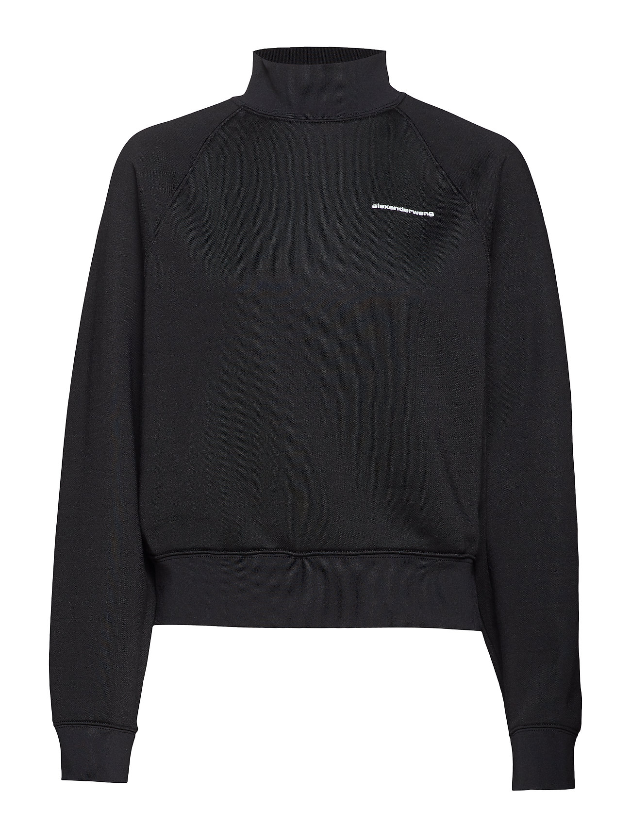 T by Alexander Wang HEAVY SLEEK FRENCH TERRY TURTLE NECK SWEATSHIRT - BLACK