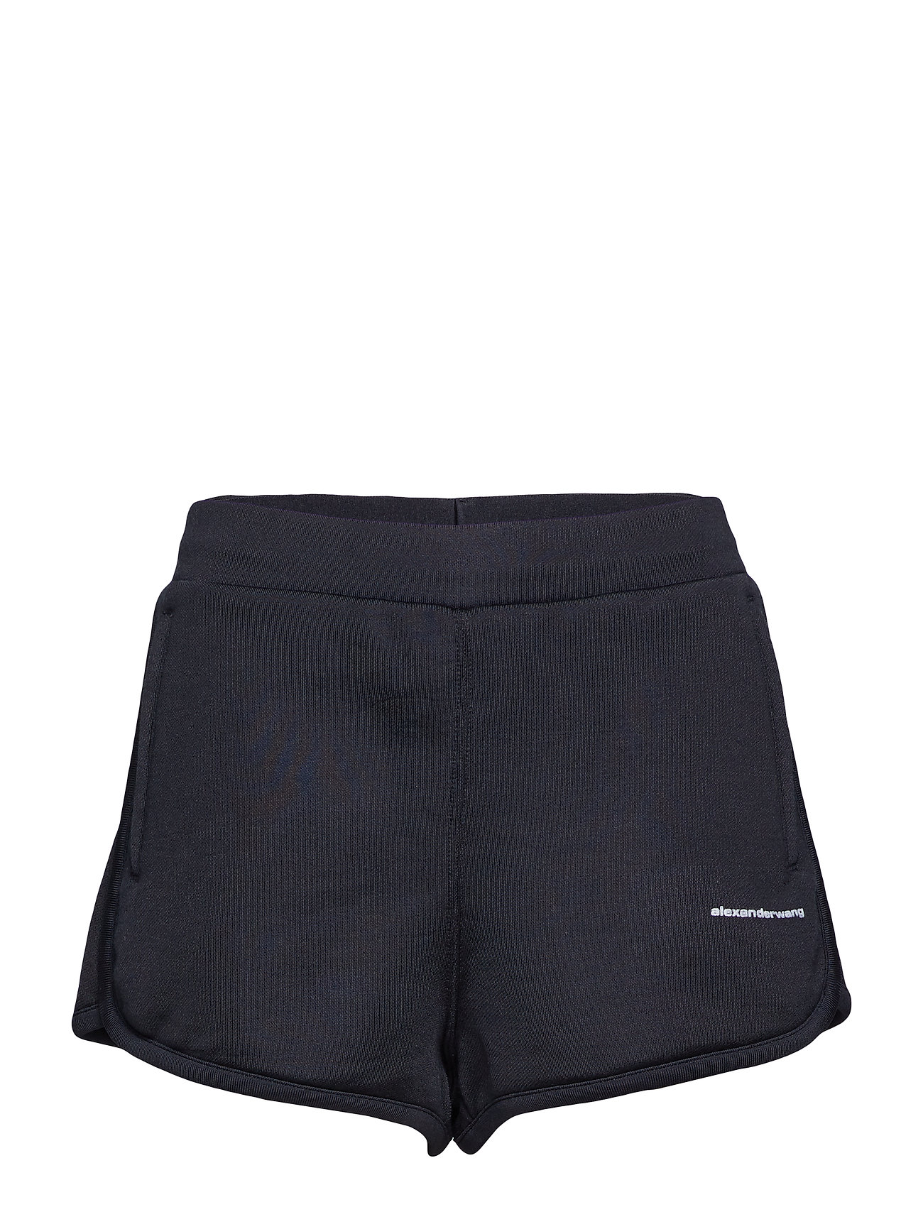 T by Alexander Wang HEAVY SLEEK FRENCH TERRY TRACK SHORTS - BLACK