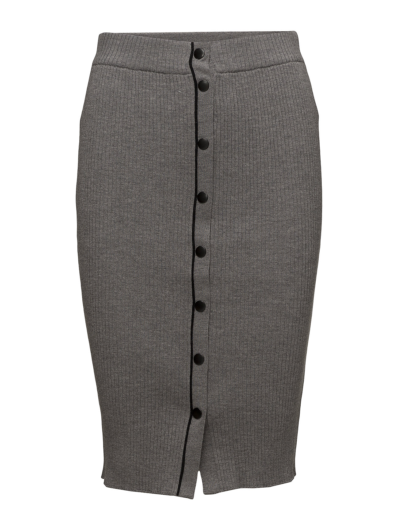T by Alexander Wang SKINNY RIB PENCIL SKIRT W/ SNAP DETAIL - HEATHER GREY