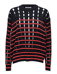 STRIPE COTTON CREWNECK PULLOVER WITH SLITS - NAVY AND LIPSTICK